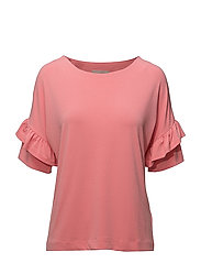 Alexa Flounce Top KNTG - STRAWBERRY PINK