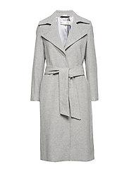 Sai Belted Coat Long OW - NEW LIGHT GREY MELANGE