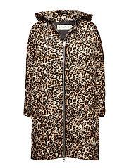 Sade Down Zip Coat OW - LEOPARD