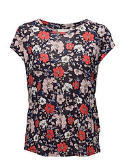 Celestin AO_18 Tshirt KNTG - NAVY DRAWN FLOWER