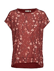 Sicily Tshirt - RUSSET BROWN ASIAN FLORAL