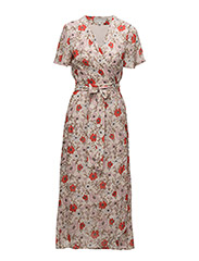 Senga Wrap Dress LW - FRENCH NOUGAT DRAWN FLOWER