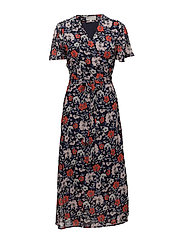 Senga Wrap Dress LW - NAVY DRAWN FLOWER