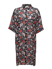 Senga Shirt LW - NAVY DRAWN FLOWER