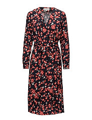 Selby Wrap Dress LW - NAVY FLOWER LEAF