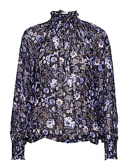 Vernon Blouse LW - WALLPAPER FLOWER MARINE BLUE