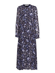 Vernon Long Dress LW - WALLPAPER FLOWER MARINE BLUE
