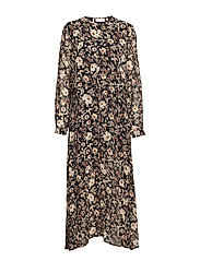 Vernon Long Dress LW - WALLPAPER FLOWER BLACK