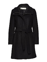 Seola Zip Coat OW - BLACK