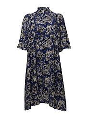 Eluka Dress - GRAPHIC GARDEN BLUE NIGHT