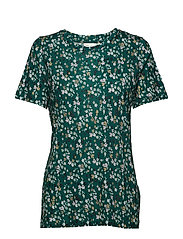Rosita T-shirt - WARM GREEN DITSY FLOWERS