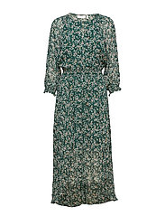 Hayden Dress - WARM GREEN DITSY FLOWERS