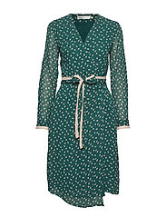 Hester Dress - WARM GREEN DOUBLE DOT
