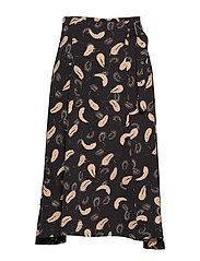 Acadia Skirt - BLACK ABSTRACT PAISLEY