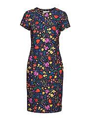 Abril Dress - BLACK WATERCOLOUR FLOWERS