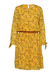 Zandra Dress - YELLOW FLORAL BRANCH