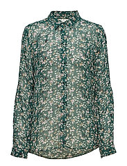 Hayden Shirt - WARM GREEN DITSY FLOWERS
