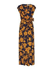 Zhen Jumpsuit Long Printed - FLOWER YELLOW NAVY