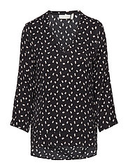 Blake V-neck Top - BLACK DOUBLE DOT