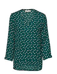 Blake V-neck Top - WARM GREEN DOUBLE DOT