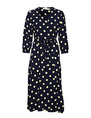 Zibi Siri Wrap Dress - MARINE / LEMON LIGHT POLKA DOT