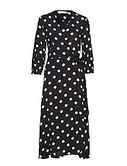 Zibi Siri Wrap Dress - BLACK / WHITE SMOKE POLKA DOT