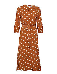 Zibi Siri Wrap Dress - ROASTED PECAN POLKA DOT