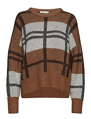 IvanaIW Check Pullover - WARM CAMEL