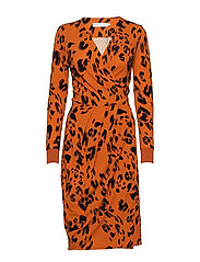 ImeldaIW Wrap Dress - RUST MODERN LEO