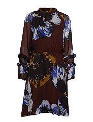 KalistaIW Short Dress - BITTER CHOCOLATE PANSY FLOWER