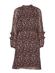 KalistaIW Short Dress - MARINE BLUE AUTUMN LEAVES