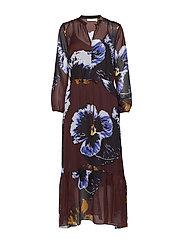 KalistaIW Long Dress - BITTER CHOCOLATE PANSY FLOWER