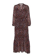 KalistaIW Long Dress - MARINE BLUE AUTUMN LEAVES