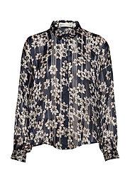 ZilmaIW Hilma Shirt - MARINE BLUE HIBISCUS FLOWER