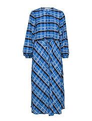LeigthonIW Dress - BLUE MULTI CHECK