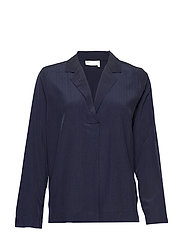 LouisIW V-Blouse - MARINE BLUE
