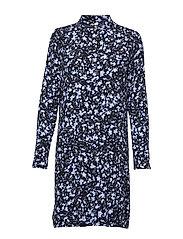 LoganIW Short Dress - MARINE BLUE SHIBORI SPLASH