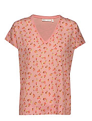 Sicily V T-Shirt - ROSE PEACH POETIC FLOWER