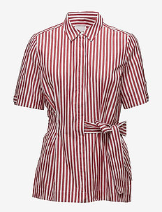Polina Shirt LW - kortermede skjorter - red and white stripe