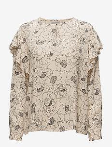 Beline Flounce Blouse - long sleeved blouses - pencil flower french nougat