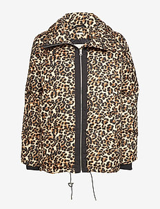 Sade Down Short Coat OW - padded jackets - leopard