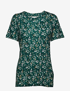 Rosita T-shirt - WARM GREEN DITSY FLOWERS
