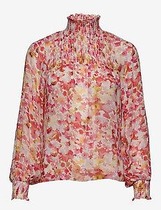 Hayden Blouse - long sleeved blouses - coral wathercolour florals