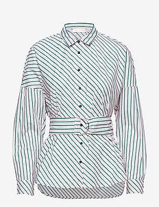 Heloise Shirt - long-sleeved shirts - rose shadow stripe