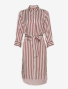 TamaraIW Dress - RUSSET BROWN BLOCK STRIPE