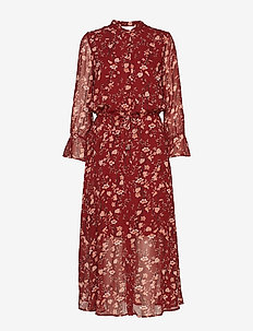 TrilbyIW Dress - RUSSET BROWN ASIAN FLORAL