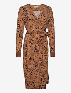 ImeldaIW Wrap Dress - slå-om-kjoler - winter beige dotted animal