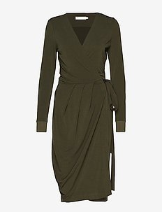 ImeldaIW Wrap Dress - OLIVE LEAF