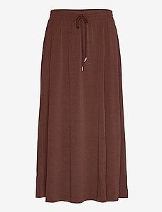NabaIW Skirt - midinederdele - coffee brown