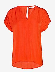 RindaIW Top - kortermede bluser - deep orange